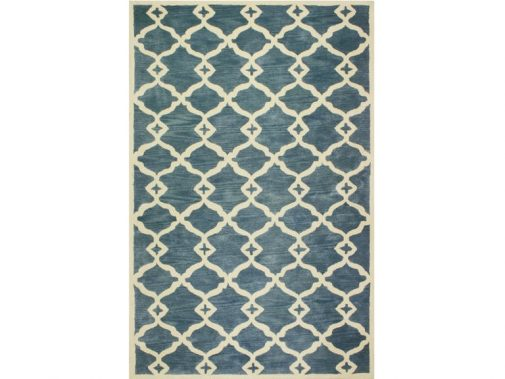 Blue Geometric Patterned Rug