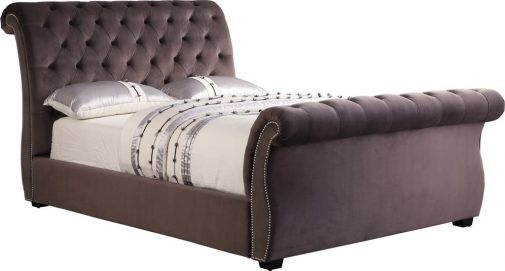 Sophia Stable Velvet Sleigh Bed